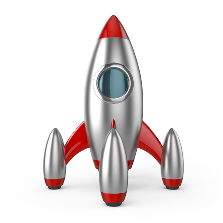 booster: rocket spaceship symbol of successful business startup 3d illustration isolated on white background retro technology style