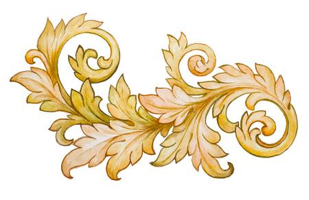Vintage barokke bloemenrol gebladerte ornament aquarel gouden retro stijl design element vector