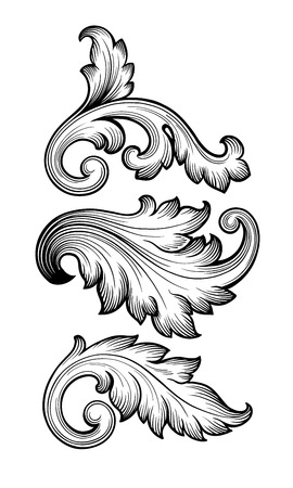 scroll border: Vintage baroque floral scroll set foliage ornament filigree engraving retro style design element vector