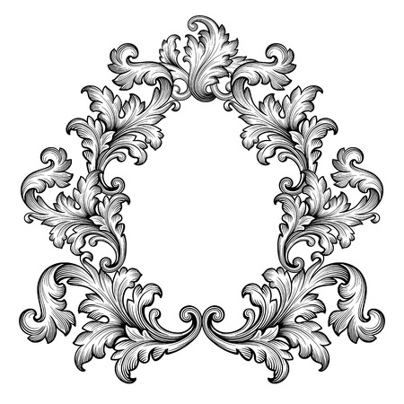 Vintage baroque frame scroll ornament engraving border retro pattern antique style decorative design element vector
