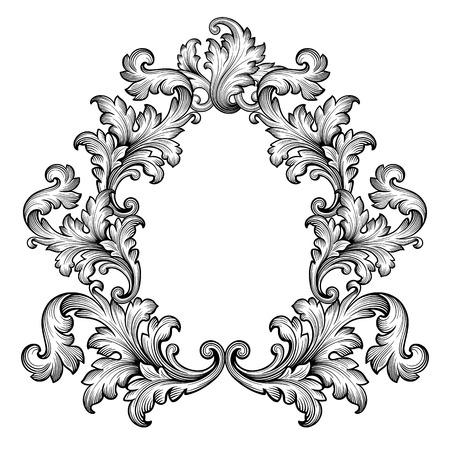 acanto: Vintage ornamentaci�n barroca de desplazamiento marco grabado frontera patr�n retro estilo antiguo decorativo dise�o elemento vector