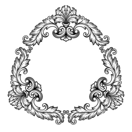 빈티지 바로크 스크롤 디자인 프레임 조각 잔잔한 꽃 테두리 패턴 요소 복고풍 스타일의 선조 벡터
