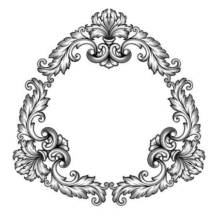scroll border: vintage Baroque scroll design frame engraving  acanthus floral border pattern element retro style filigree vector Illustration