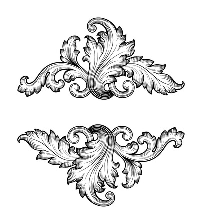 scrolls: Vintage baroque frame scroll ornament engraving border retro pattern antique style swirl decorative design element filigree vector