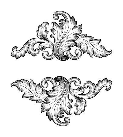 barroco: Vintage ornamentación barroca de desplazamiento marco grabado frontera patrón antiguo retro remolino decorativo diseño elemento filigrana vector