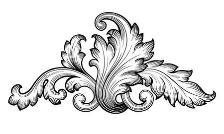 Vintage baroque floral scroll foliage ornament filigree engraving retro style design element vector Vector