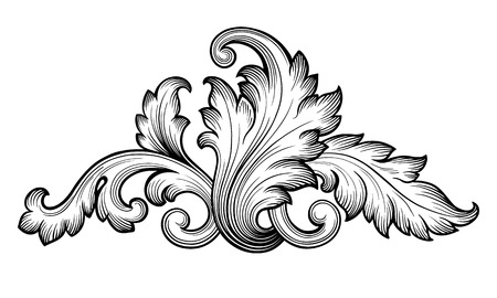 Vintage baroque floral scroll foliage ornament filigree engraving retro style design element vector Vectores