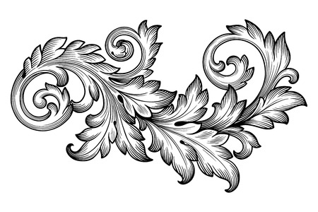 Vintage baroque frame scroll ornament engraving border floral retro pattern antique style acanthus foliage swirl decorative design element filigree calligraphy vector Çizim