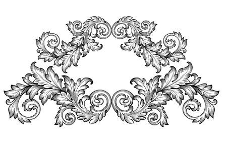 Vintage baroque frame scroll ornament engraving border floral retro pattern antique style acanthus foliage swirl decorative design element filigree calligraphy vector Illustration
