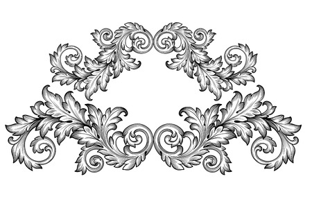 Vintage baroque frame scroll ornament engraving border floral retro pattern antique style acanthus foliage swirl decorative design element filigree calligraphy vector Vettoriali
