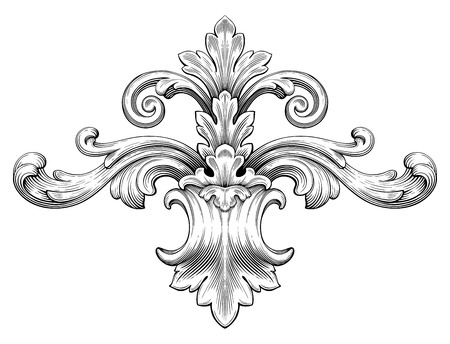 Vintage baroque frame leaf scroll floral ornament engraving border retro pattern antique style swirl decorative design element black and white filigree vector Vectores