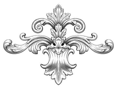 Vintage barroco marco hoja desplazamiento adorno floral grabado frontera patrón retro estilo antiguo remolino decorativo diseño elemento blanco y negro filigrana vector