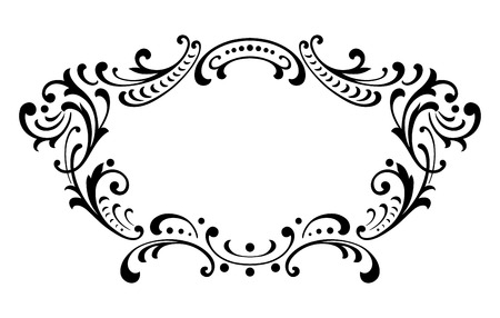 black and white frame: Vintage baroque frame leaf scroll floral ornament engraving border retro pattern antique style swirl decorative design element black and white filigree vector Illustration