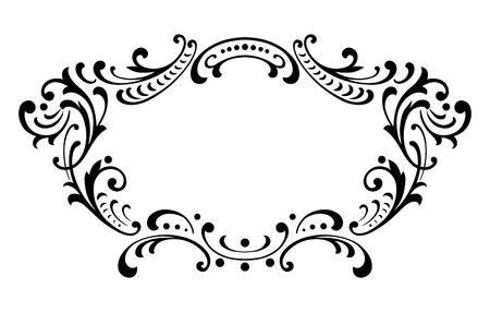 Vintage baroque frame leaf scroll floral ornament engraving border retro pattern antique style swirl decorative design element black and white filigree vector Vectores