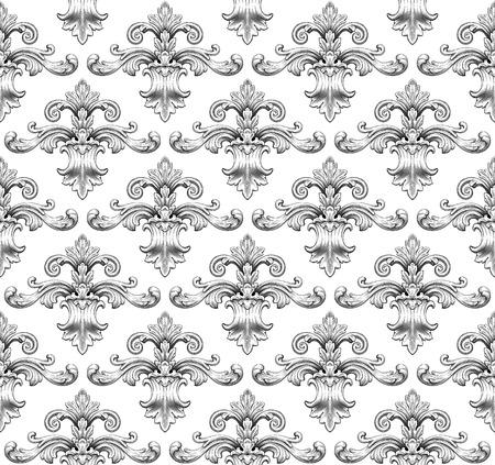 Vintage baroque damask seamless pattern leaf scroll floral ornament engraving border retro antique style swirl decorative design element black and white filigree vector Ilustração