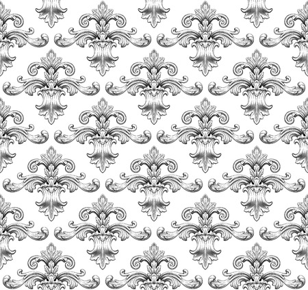 Vintage baroque damask seamless pattern leaf scroll floral ornament engraving border retro antique style swirl decorative design element black and white filigree vector Illustration