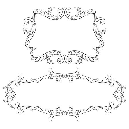 Vintage baroque frame set leaf scroll floral ornament engraving border retro pattern antique style swirl decorative design element black and white filigree vector Ilustração