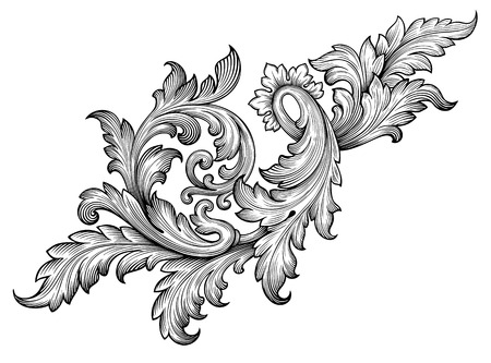 Vintage baroque frame leaf scroll floral ornament engraving border retro pattern antique style swirl decorative design element black and white filigree vector Çizim