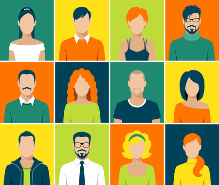 young: flat design avatar app icons set user face people man woman vector