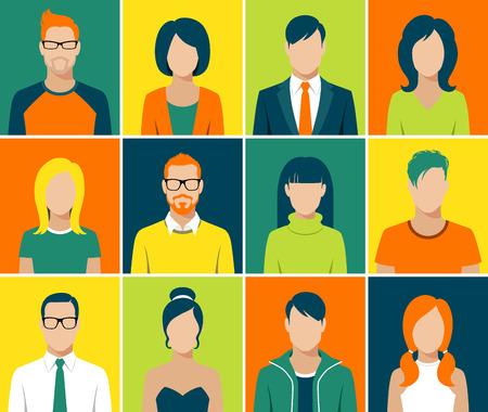 Flache Bauform avatar App Icons Set User Gesicht Menschen, Mann, Frau Vektor- Standard-Bild - 37442249