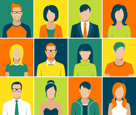 person: flat design avatar app icons set user face people man woman vector