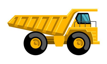 Mining dump truck tipper big heavy yellow car flat design vector icon