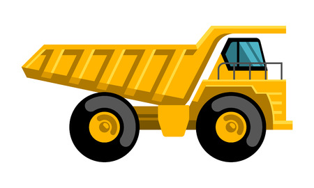 dump truck: Mining dump truck tipper big heavy yellow car flat design vector icon