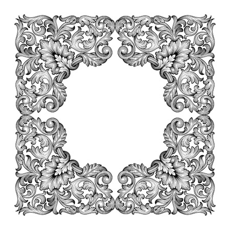 Vintage baroque frame leaf scroll floral ornament engraving border retro pattern antique style swirl decorative design element black and white filigree vector Ilustração