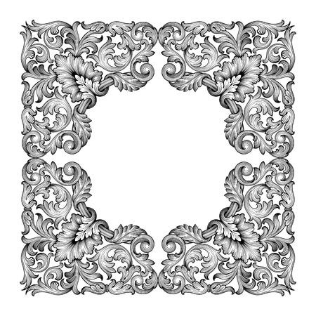 Vintage barroco hoja marco desplazamiento ornamento floral grabado frontera patrón antiguo retro remolino decorativo diseño elemento blanco y negro filigrana vector