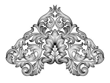 ビンテージ バロック フレーム コーナー リーフ スクロール花飾り彫刻国境レトロ パターン アンティーク スタイル渦巻き装飾的なデザイン黒と白の