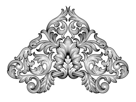Vintage baroque frame corner leaf scroll floral ornament engraving border retro pattern antique style swirl decorative design element black and white filigree vector Vector
