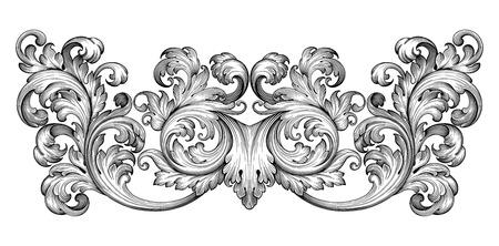 Vintage barocco foglia telaio scroll confine incisione ornamento floreale modello retrò antichi ricciolo stile decorativo esempio filigrana bianco e nero di vettore