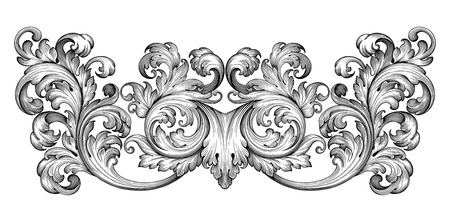 Vintage baroque frame leaf scroll floral ornament engraving border retro pattern antique style swirl decorative design element black and white filigree vector Imagens - 40701169