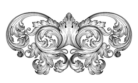 Vintage barocco foglia telaio scroll confine incisione ornamento floreale modello retrò antichi ricciolo stile decorativo esempio filigrana bianco e nero di vettore Vettoriali