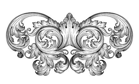 stile: Vintage barocco foglia telaio scroll confine incisione ornamento floreale modello retr� antichi ricciolo stile decorativo esempio filigrana bianco e nero di vettore Vettoriali