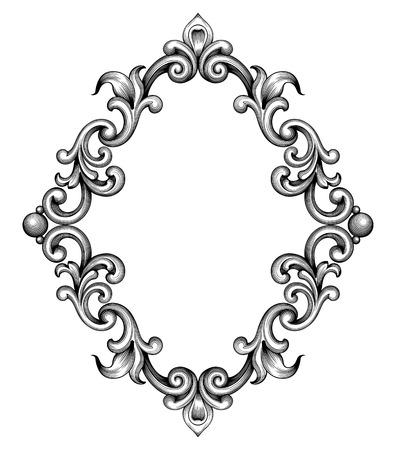 빈티지 바로크 프레임 잎 스크롤 꽃 장식 조각 테두리 복고풍 패턴 앤티크 스타일 소용돌이 장식 디자인 요소 흑백 선조 벡터