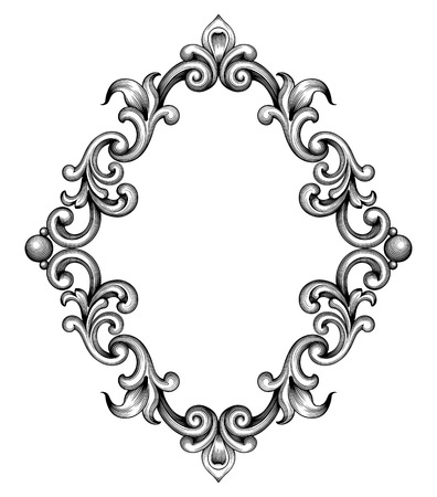 border: Vintage baroque frame leaf scroll floral ornament engraving border retro pattern antique style swirl decorative design element black and white filigree vector Illustration