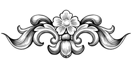 esquineros de flores: Vintage barroca floral de desplazamiento follaje ornamento filigrana grabado estilo retro elemento de dise�o vectorial