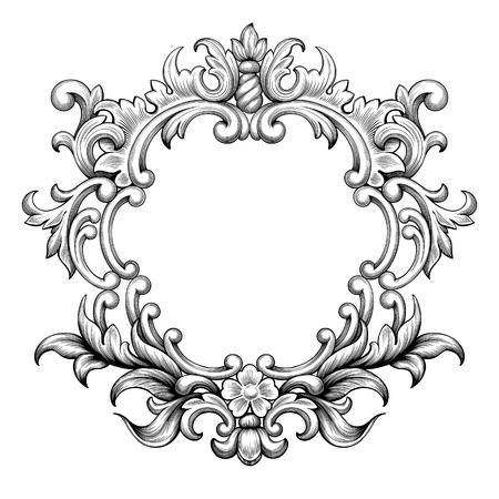 Vintage bordo della cornice barocca foglia di scorrimento ornamento floreale incisione fiori retrò modello antico ricciolo stile elemento decorativo in filigrana in bianco e nero vettore carta invito a nozze di auguri