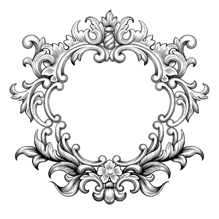 Vintage hoja de la voluta frontera marco barroco ornamento floral grabado retro patrón de flores de antigüedades remolino decorativo diseño elemento tarjeta de felicitación de la invitación de boda blanco y negro del vector de filigrana