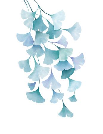ginkgo biloba aquarel groen blauwe bladeren decoratieve bloemen tekening illustratie op een witte achtergrond bruiloft uitnodiging wenskaarten spring summer tropische planten vintage design