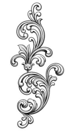 decoratif: Vintage baroque cadre victorien monogramme frontière feuille floral ornement parchemin retriver fleur gravé design décoratif tatouage filigranes vecteur noir et blanc calligraphique blason swirl Illustration