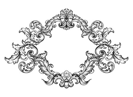 classic tattoo: Vintage Baroque Victorian frame Illustration