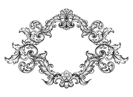 tatouage fleur: Vintage frame victorienne baroque
