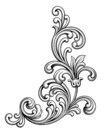 빈티지 바로크 빅토리아 프레임 테두리 모노그램 꽃 장식 잎 스크롤 새겨진 복고풍 꽃 패턴 장식 디자인 문신 검은 색과 흰색 선조 붓글씨 벡터 전 령