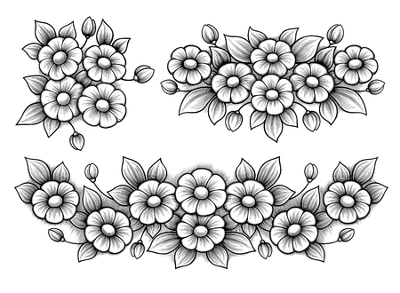 Set flowers daisy bunch vintage Victorian frame border monogram floral ornament leaf scroll engraved retro pattern decorative design tattoo black and white filigree calligraphic vector heraldic shield  イラスト・ベクター素材