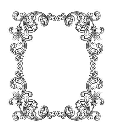 Vintage baroque cadre victorien monogramme frontière feuille floral ornement parchemin retriver fleur gravé design décoratif tatouage filigranes vecteur noir et blanc calligraphique blason swirl Banque d'images - 55459140