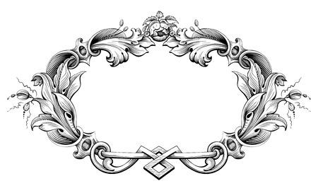 Vintage barocco cornice vittoriana confine monogramma foglia ornamento floreale di scorrimento inciso modello retrò fiore decorativo disegno del tatuaggio in filigrana in bianco e nero calligrafico vettore scudo araldico turbolenza