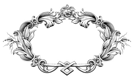 acanthus: Vintage Baroque Victorian frame border monogram floral ornament leaf scroll engraved retro flower pattern decorative design tattoo black and white filigree calligraphic vector heraldic shield swirl