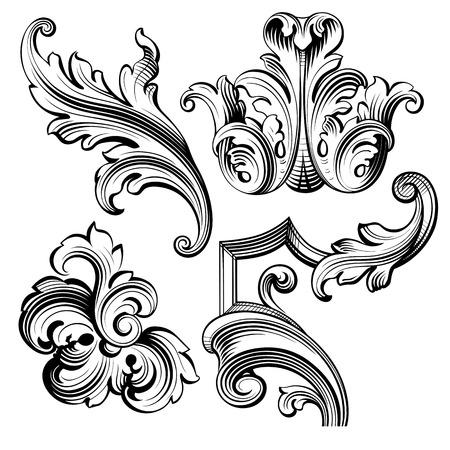 tatouage fleur: Vintage baroque cadre victorien monogramme fronti�re feuille floral ornement parchemin retriver fleur grav� design d�coratif tatouage filigranes vecteur noir et blanc calligraphique blason swirl Illustration